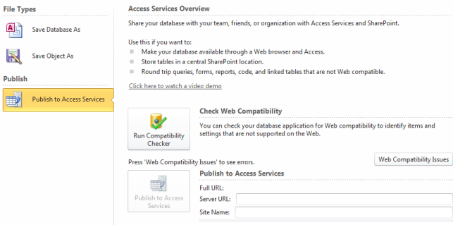 Publish to Access Services