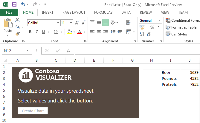 Create Chart button is disabled until the user selects values in the Excel sheet