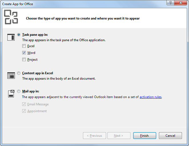 Creating a Task Pane App in Visual Studio 2012