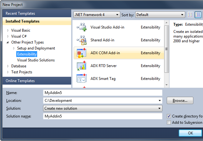 Creating a new COM Add-in project using Add-in Express for Office and .net
