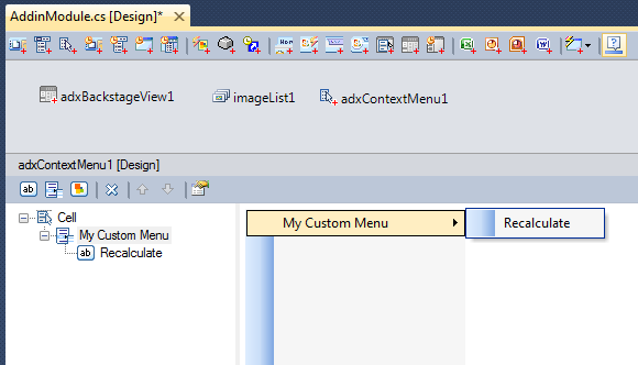 Add your context menu items.