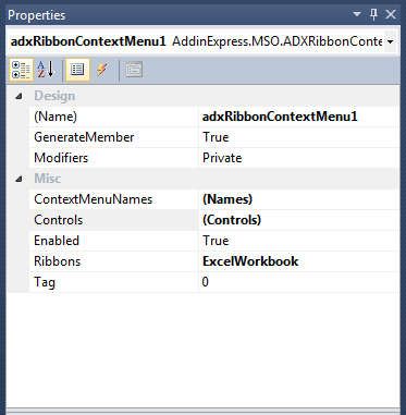 The ADXRibbonContextMenu component allows you to add custom controls to several of the built-in context menus.