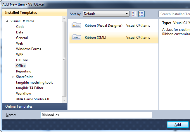 Adding a new VSTO Ribbon (XML) item