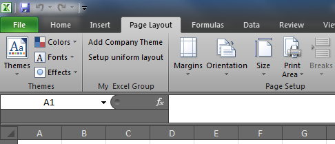 The newly created custom ribbon group inserted into the existing Excel 2010 tab