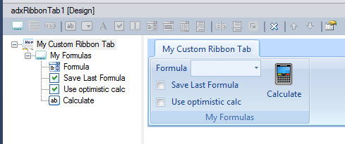 Designing a custom ribbon tab with a combo box, two checkboxes and a large button
