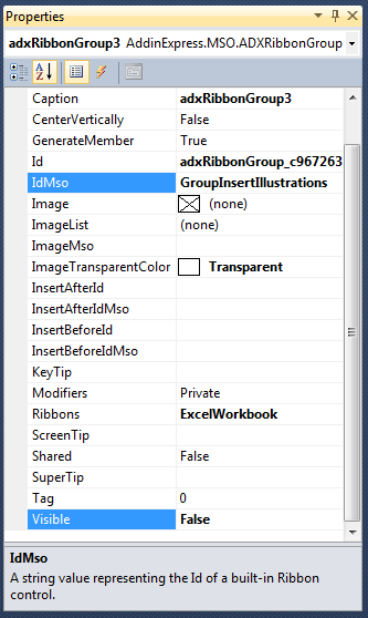 Configuring properties to hide built-in Excel ribbon controls