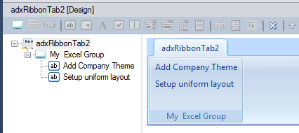 Designing a custom Ribbon group for the existing Excel ribbon tab