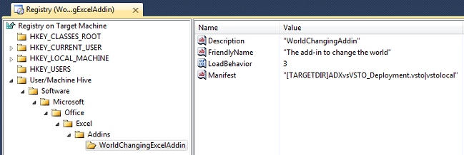 Adding values under the WorldChangingExcelAddin key