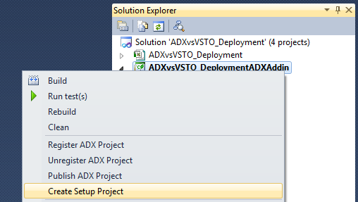Creating a setup project with Add-in Express