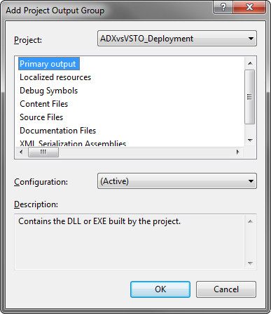Adding the project output to the setup project