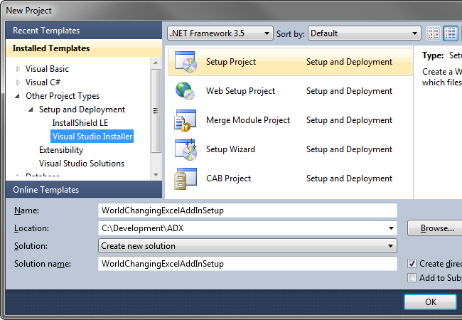 Adding a setup project to your VSTO solution