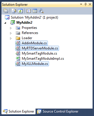 Combining several Office extensions in one project: COM add-in, Excel RTD server and XLL