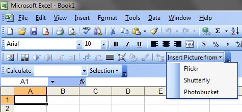 Custom controls added to the built-in Excel 2003 Picture toolbar
