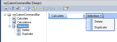 A custom Excel command bar containing a button, dropdown list and a command bar popup control