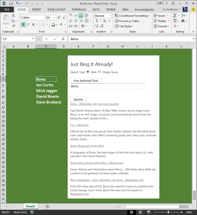 The JustBingIt! content pane app in Excel 2013