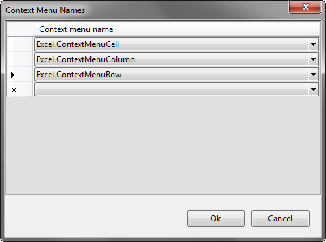 Specifying supported context menus in the editor