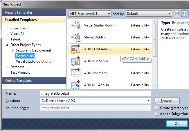 Creating a new COM Add-in project in Visual Studio