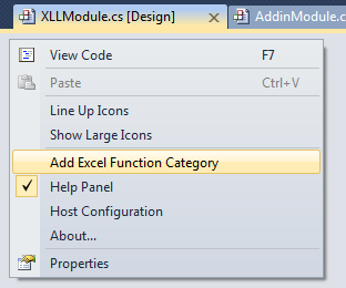Selecting Add Excel Function Category from the context-menu
