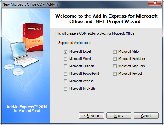 Selecting C# as a programming language and Office 2007 as the minimum supported Office version
