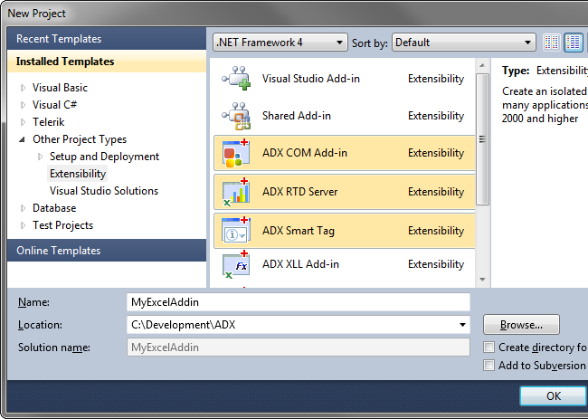 Add-in Express project templates to create COM Add-ins, RTD Servers and XLL add-ins