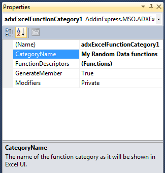 Selecting the new category and setting its CategoryName property