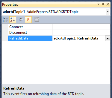 Creating a new event handler for the RefreshData event