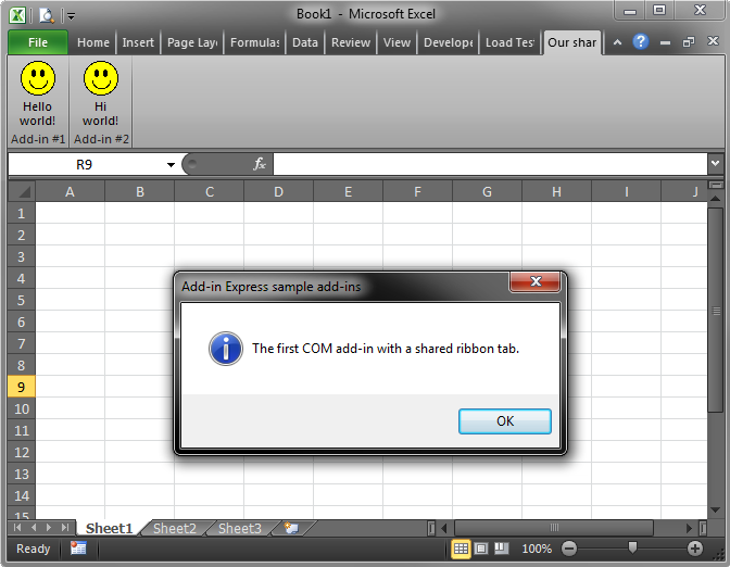 The message displayed by the C# add-in in Excel 2010