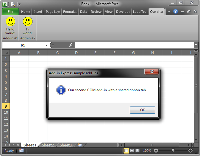 The message displayed by the VB.NET add-in in Excel 2010