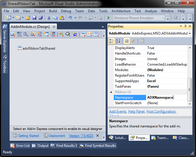 Configuring the Namespace property of the add-in module