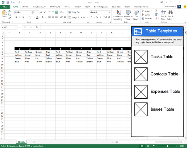 Design of the Excel Table Templates app