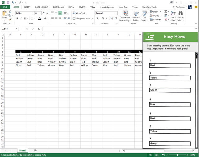 Design of the Excel Easy Rows app