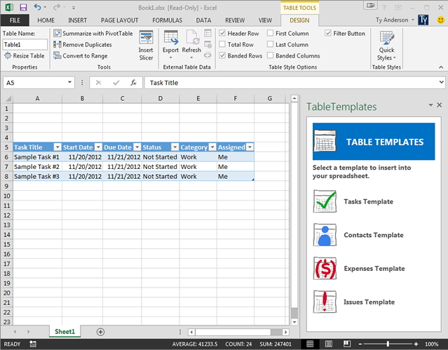 Table Template app in Excel 2013