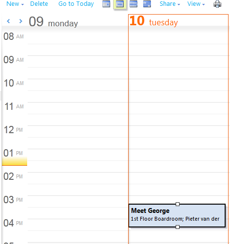 The newly created meeting in your Office 365 Outlook Calendar