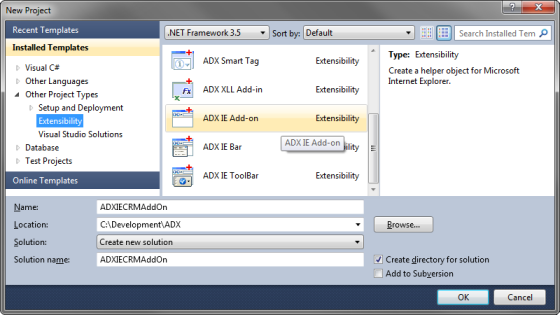 Creating a new ADX IE Add-on in Visual Studio