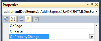 Generating an event handler for the OnPropertyChange event