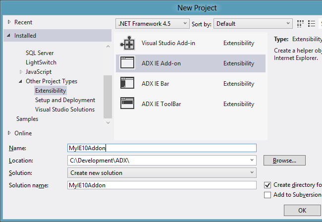 Creating a new ADX IE Add-on project in Visual Studio 2012