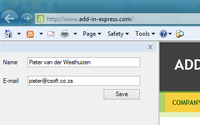 Your IE 10 add-on with a custom IE Bar and a new item on the IE Command Bar