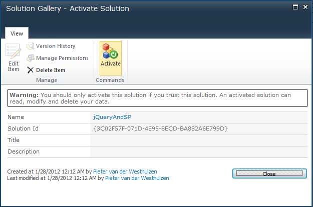 Activate your solution by clicking on the Activate button