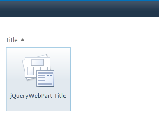 Inserting the jQuery web part we've just uploaded