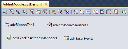 The Ribbon Tab, Task Pane, Keyboard Shortcuts and Excel Events components of the second add-in