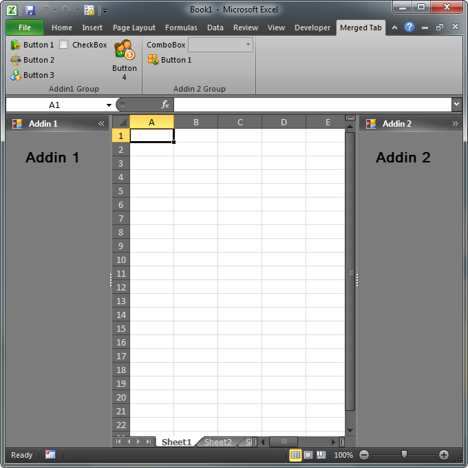 The merged UI elements of both add-ins in Excel 2010