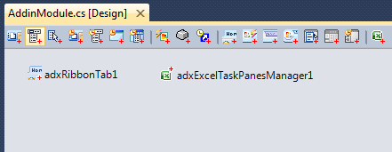 The Ribbon Tab and Excel Task pane components of the first add-in