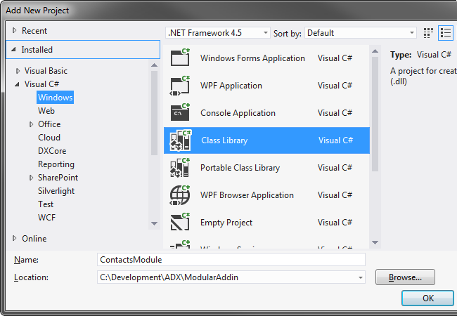 Adding a new Class Library project to the existing Visual Studio 2012 solution