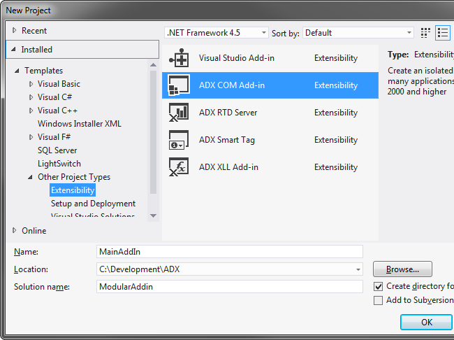 Creating a new COM Add-in for Outlook in Visual Studio 2012