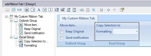 Adding two groups to your ribbon tab using visual designer