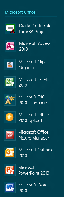 Starting Excel 2010 in Windows 8