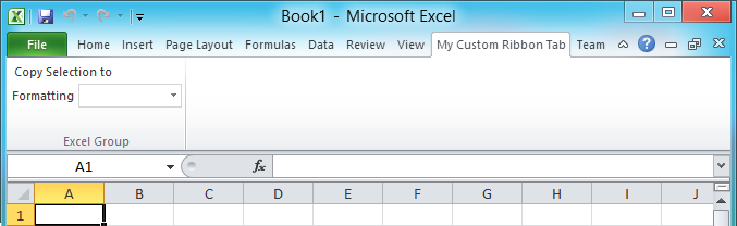 A custom ribbon tab in Excel 2010 with only the Excel group visible