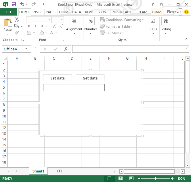The newly created Content app in Excel 2013
