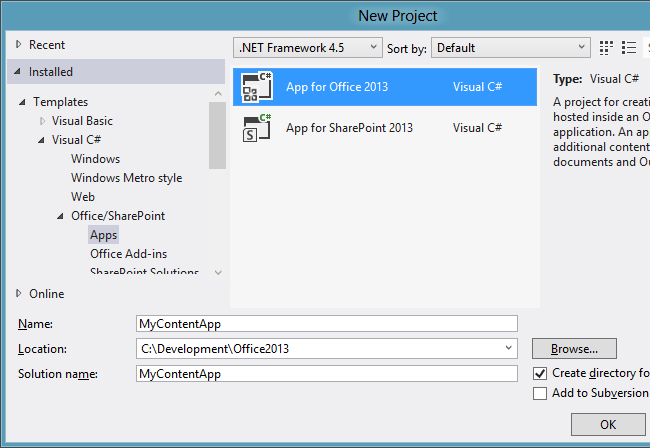 Creating a Content app for Excel in Visual Studio 2012