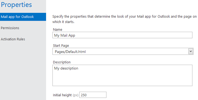 Specify the name, description and start age of your app